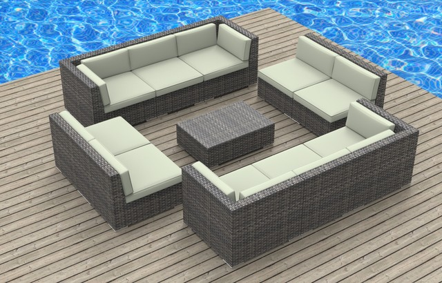 Modern Outdoor Sacramento Bermuda - 11pc Ultra Modern Wicker Patio Set: Beige modern-outdoor-lounge-