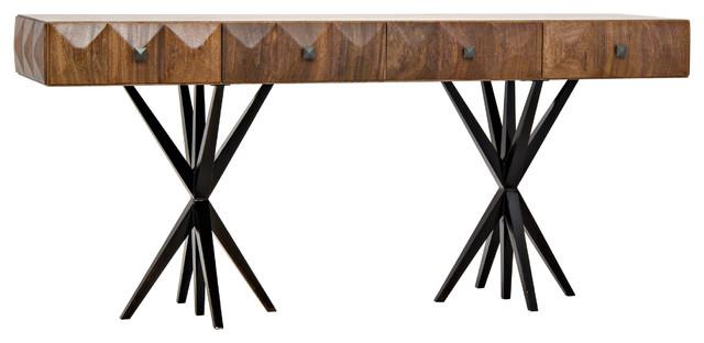 Engelina Rustic Lodge Dark Walnut Metal Leg Desk.