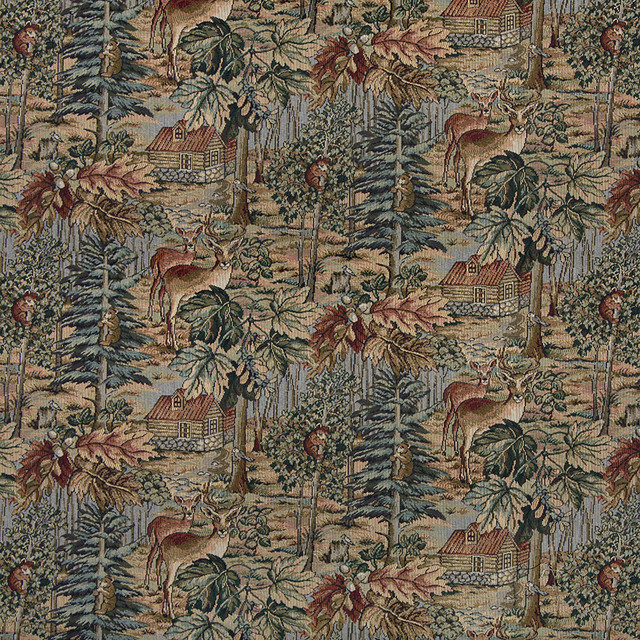 Wilderness Deer Cabins Trees Leaves Theme Tapestry Upholstery Fabric By The Yard
