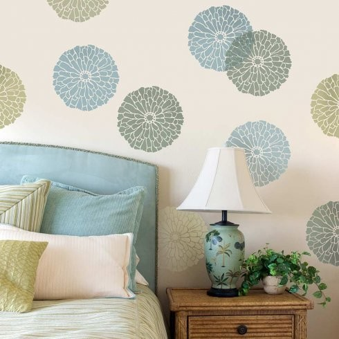 Wall Stencil Art summer blossom wall art stencil - contemporary - wall stencils