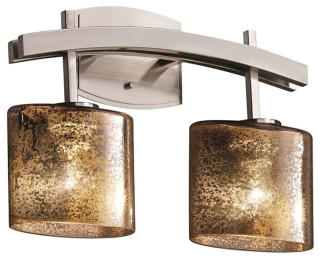 Fusion Archway Bath Bar, Oval, Brushed Nickel With Mercury Glass