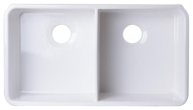 "Alfi Brand Ab512um 32"" White Double Bowl Fireclay Undermount Kitchen Sink."