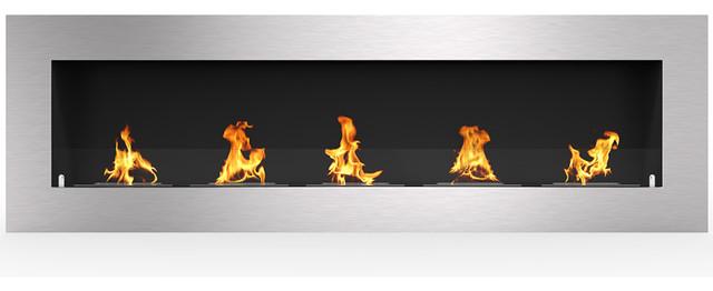Warren 72 Pro Ventless Built In Recessed Bio Ethanol Wall Mounted Fireplace.