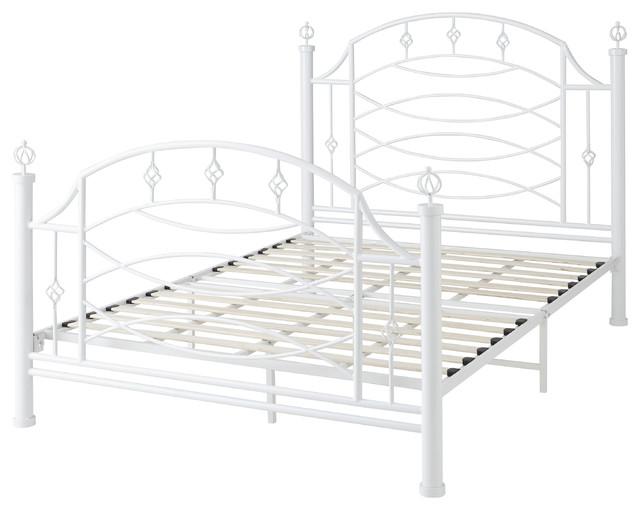 Dreams Bespoke Livia White Metal Scroll Platform Bed Frame, Queen.