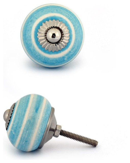 Ceramic Knobs, Turquoise With White , Set of 2 - Cabinet And Drawer Knobs - by Knobco