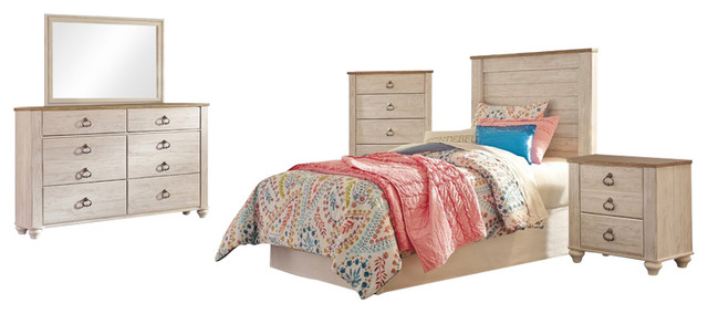 Ashley Willowton 5-Piece Twin Headboard Bedroom Set With Chest, White farmhouse-bedroom-furniture-sets