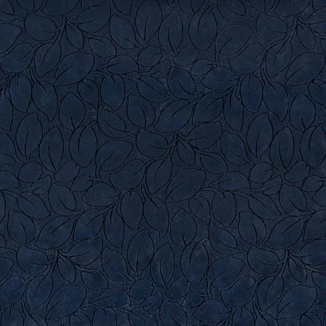 Navy Blue Leaves Microfiber Upholstery Fabric By The