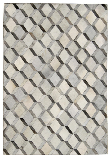 Madisons Grey 3D Diamond Pattern Cowhide Patchwork Rug  : contemporary area rugs from www.houzz.com size 458 x 640 jpeg 100kB