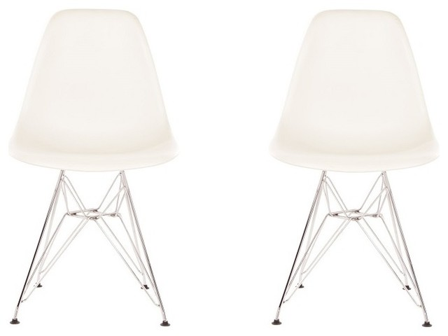 Set Of 2 DSR White Mid Century Modern Plastic Dining Shell Chair Outdoor Di
