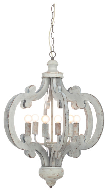 Venice Wooden Chandelier With Distressed Look.