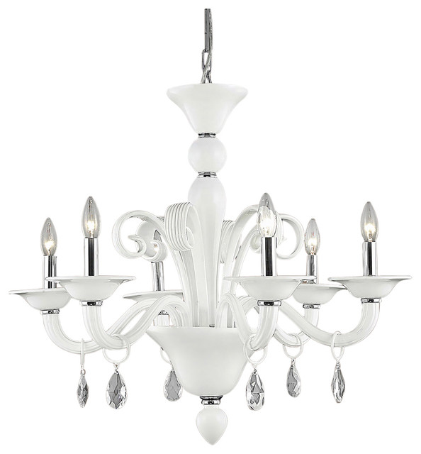 "Red Murano Chandelier: Murano Design 6 Light 29"" Red Chandelier With Murano Glass"