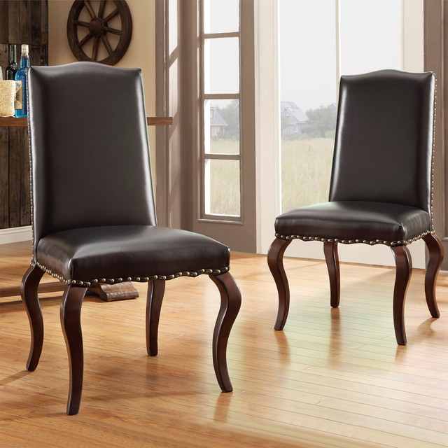 Inspire q lorell brown bonded leather upholstered for Inspire q dining room chairs