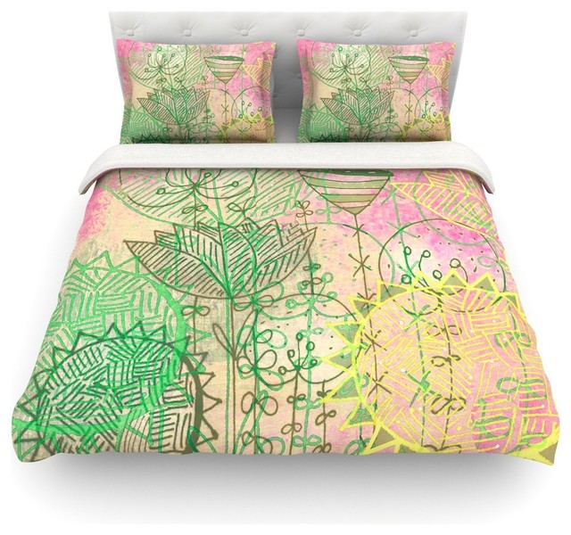 Marianna Tankelevich Pink Dream Green Duvet Cover Cotton Queen Eclectic