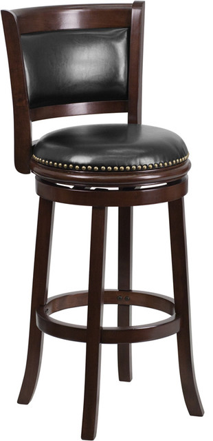Phenomenal 29 Inch High Cappuccino Wood Barstool With Panel Back Dailytribune Chair Design For Home Dailytribuneorg
