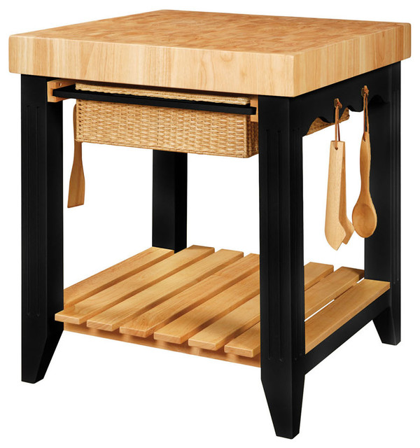 Powell Color Story Black Butcher Block Kitchen Island Tropical Kitchen  Islands And