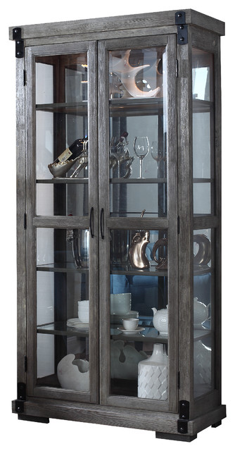 Jane Rustic Dark Gray With Glass Shelves Curio