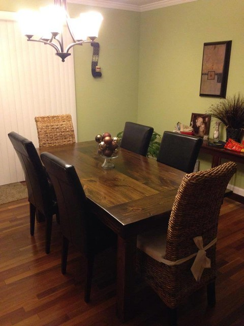 James+James 6u0027 Farmhouse Table In Dark Walnut Stain. Jointed Tabletop With  Endca