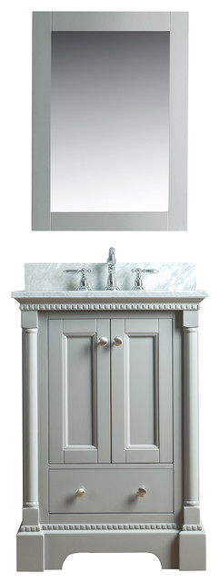 Olivia 24 In Single Bathroom Vanity In Gray With Carrera Marble Top And Mirror.