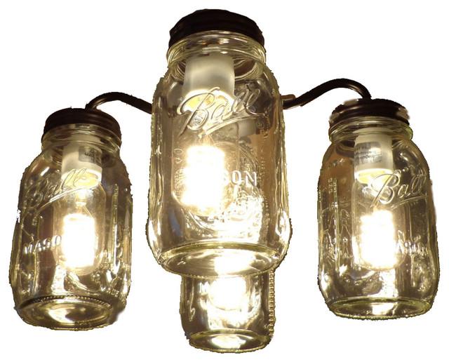 mason jar ceiling fan light kit new quart jars rubbed bronze farmhouse ceiling - Ceiling Fan Light Kits