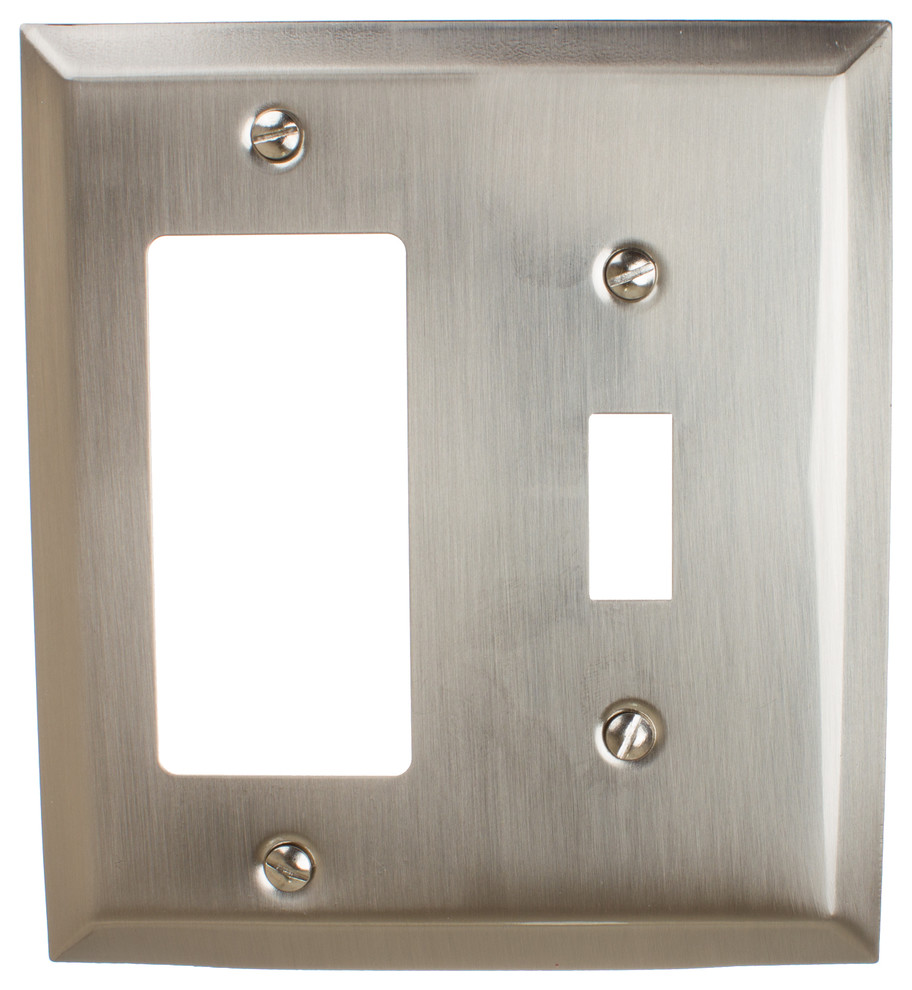 Brushed Nickel Toggle Switch Rocker GFCI Wall Plate Cover