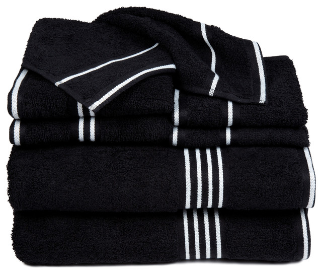 Charming Rio 8 Piece Cotton Towel Set, Black