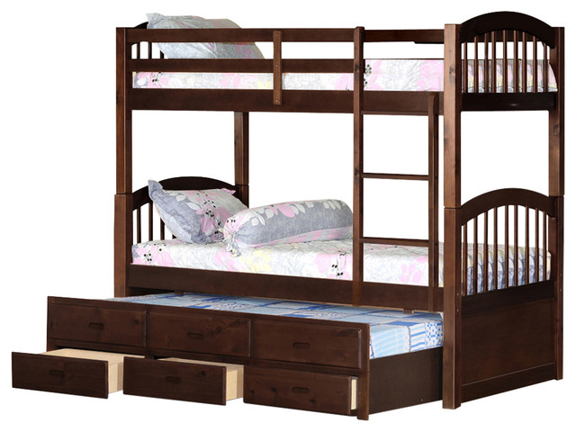 Arhtur Bunk Bed, Espresso, Twin Over Twin With Twin Trundle.