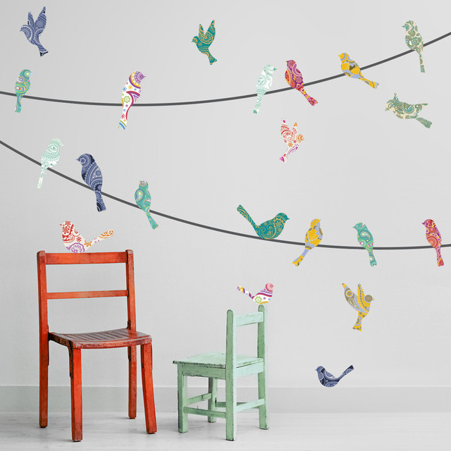 Wall Decal Paisley Birds On A Wire Contemporary Wall Decals - Wall decals birds