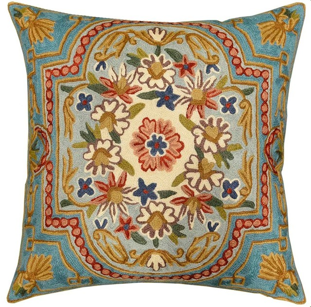 Floral Garden Turquoise Ivory Pillow Cover Hand Embroidered 18″ X 18″.
