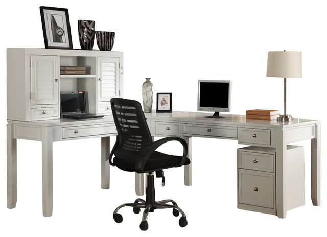 Boca 4Piece LShaped Desk Cottage White Finish Desks And