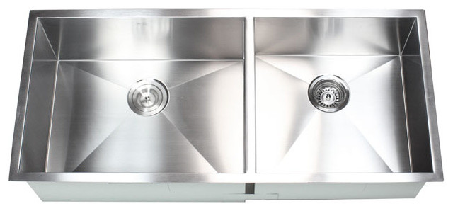 Medium image of 42   stainless steel undermount 60 40 double bowl kitchen sink contemporary  kitchen