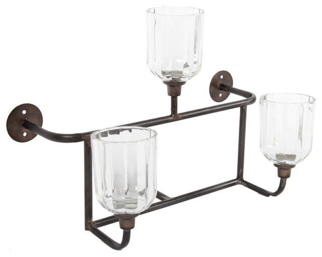 Industrial Candle Wall Sconces : Metal and Glass Wall Sconce, Candle Holder - Industrial - Wall Sconces - by Fantastic Decor LLC