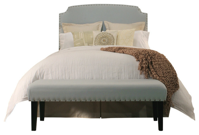 Grosvenor Upholstered Headboard And Bench Set Queen Full Size Dusty Aqua