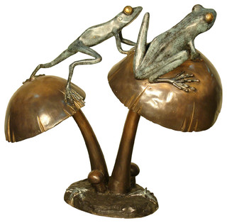 Two Frogs Balancing On Mushrooms Bronze Sculpture   Contemporary   Garden  Statues And Yard Art   By Bronze West Imports, Inc.
