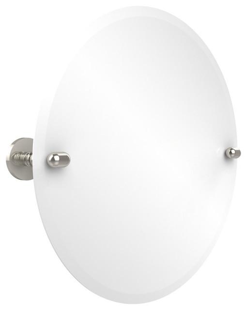 22 Round Tilt Mirror, Polished Nickel.