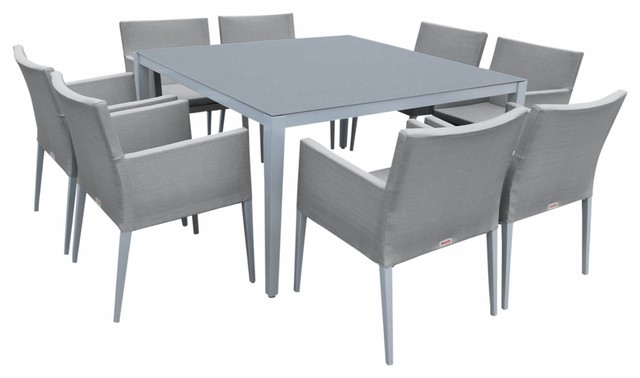 Outdoor Aluminum Gray Frosted Glass 9-Piece Square Dining Table Set.