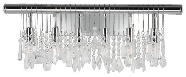 "Bathroom Vanity Lights Chrome Finish modern, 6 light chrome finish, 24"" wide crystal linear vanity wall"