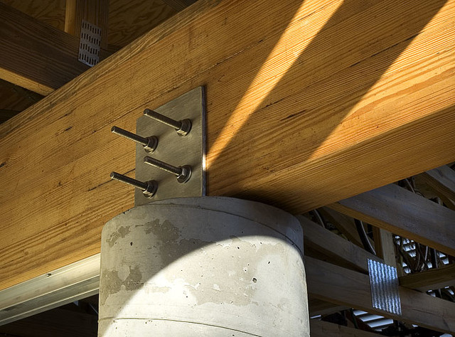 Stainless Connection Wood Glulam Concrete Column Arts