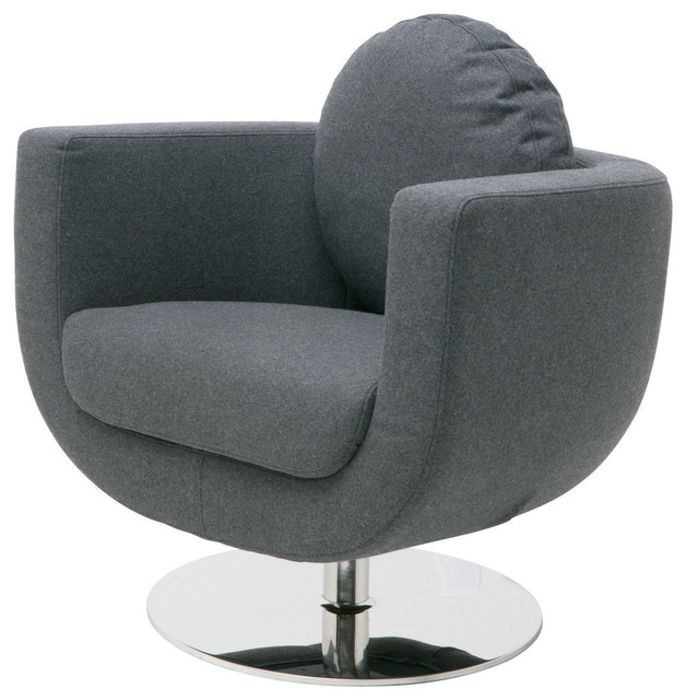 Simone Wool Swivel Occasional Chair, Dark Gray contemporary-armchairs-and- accent-