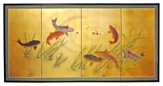 """36"""" Gold Leaf Seven Lucky Fish."""