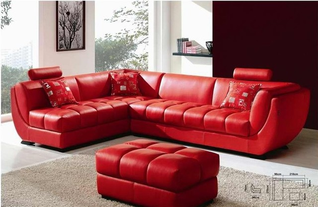 Genial Louella   Cherry Red Leather Sectional Sofa Modern Sectional Sofas