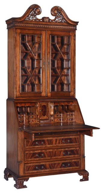 New Secretary Desk Bookcase Glass Panes Traditional Desks And
