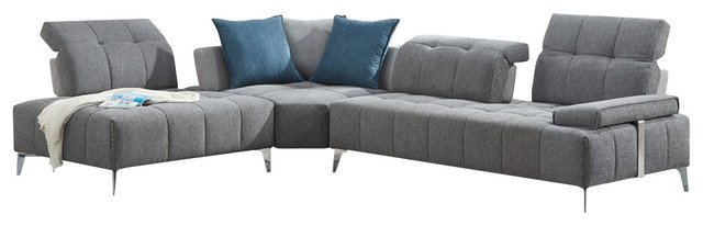 Divani Casa Nash Gray Tufted Fabric Sectional Sofa With Adjustable Backrest