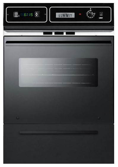 24 Inch Electric Wall Oven With A Black Glass Door