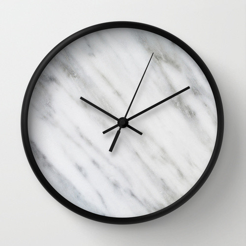 Carrara Italian Marble WALL CLOCK By Cafelab Studio For Society6 Contemporary Wall Clocks