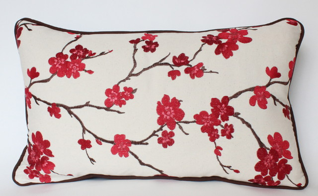 Cherry Blossom Lumbar Pillow with Piping