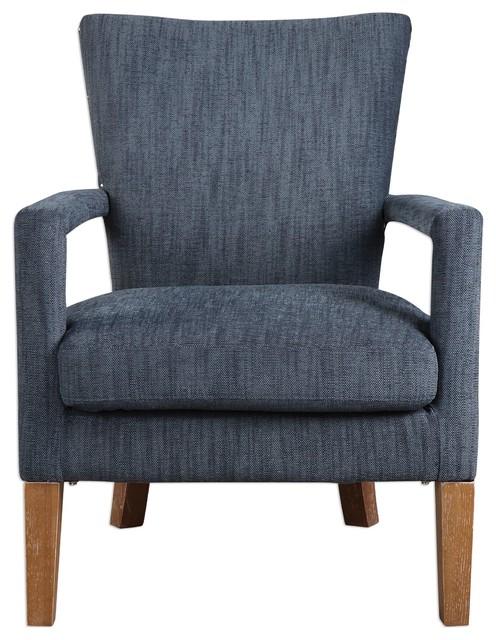 My Swanky Home Retro Dark Blue Plush Open Arm Chair