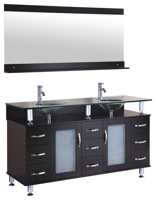 Lesscare Vanity Cabinet Lv1 60b With Double Sink Gl Top And Mirror