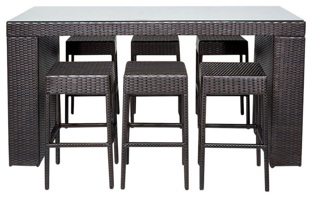 Napa 7-Piece Outdoor Bar Table Set With Backless Bar Stools.