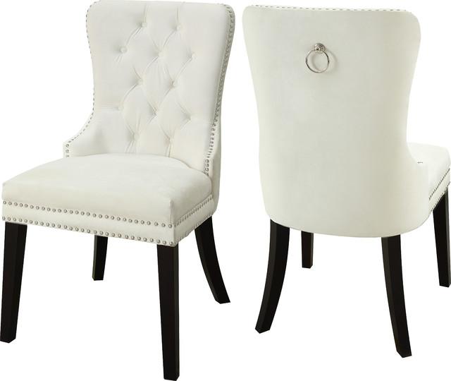 Martha Velvet Dining Chairs, Set Of 2, Cream.