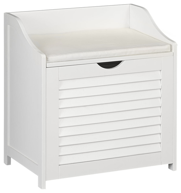 Single-Load Cabinet Hamper Seat, White.